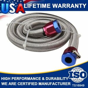 Universal Stainless Steel Braided Fuel Line 3 8 In 3 Ft Length High Performance