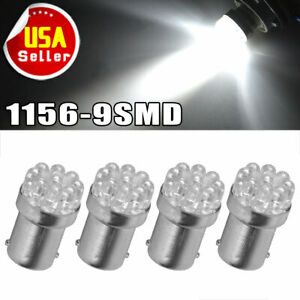 4x White 1156 Ba15s 9smd Led Backup Reverse Turn Signal Light Bulbs 1141 1073