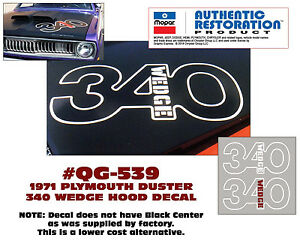 Qg 539 1971 Plymouth Duster 340 Wedge Hood Decal Outline Aftermarket