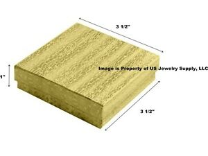 Wholesale 200 Gold Cotton Fill Jewelry Packaging Gift Boxes 3 1 2 X 3 1 2 X 1