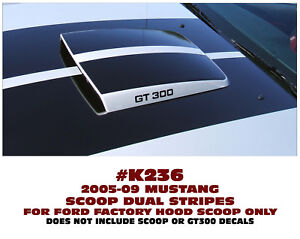 K236 2005 09 Ford Mustang Dual Stripes For Factory Hood Scoop