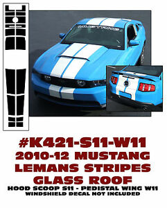 K421 2010 12 Mustang Glass Roof Lemans Stripe Hood Scoop Pedestal Wing