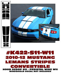 K422 2010 12 Mustang Convertible Lemans Stripe Hood Scoop Pedestal Wing