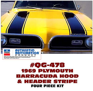 Qg 478 1969 Plymouth Barracuda Hood And Header Stripe Kit Four Pieces