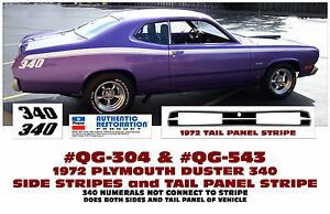Qg 304 Qg 543 1972 Plymouth Duster 340 Side Stripe And Tail Panel Decal