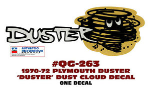 Qg 263 1970 1972 Plymouth Duster Duster Cloud Tail Panel Decal One Decal