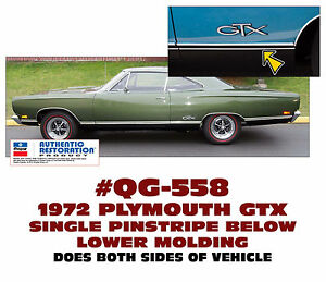 Qg 558 1969 Plymouth Gtx Single Pinstripe Below Lower Moldings Reflective