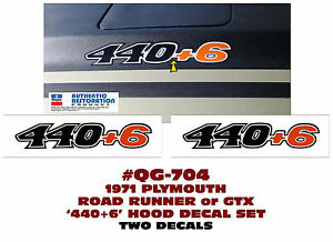 Qg 704 1970 Plymouth Road Runner And Gtx 440 6 Hood Decal Set Two Decals