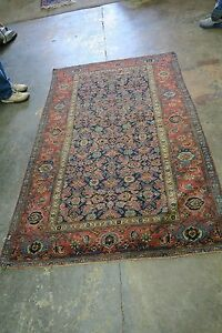 Antique Persian Halvai Bidjar Bijar Rug 4 4 X 7 7 Hand Knotted Wool On Wool
