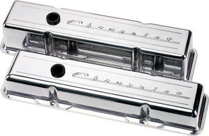 Billet Specialties Chevrolet Script Polished Aluminum Sbc Tall Valve Covers
