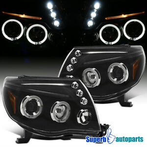 For 2005 2011 Toyota Tacoma Led Halo Projector Headlights Lamps Black