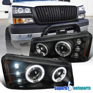 2003 2006 Chevy Silverado Led Dual Halo Projector Headlights Black Specd Tuning