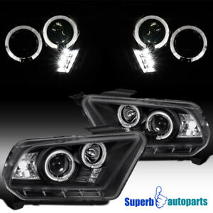 2010 2014 Ford Mustang Halo Led Projector Headlights Black Specd Tuning