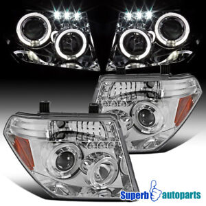 For 2005 2008 Pathfinder Frontier Led Halo Clear Projector Headlights Chrome
