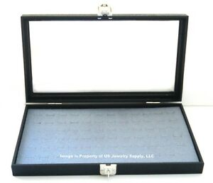Key Lock Locking Glass Top Lid 72 Ring Grey Jewelry Display Box Storage Case