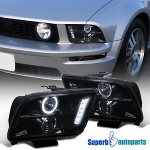 2005 2009 Ford Mustang Smoke Projector Led Halo Headlight Glossy Black Pair