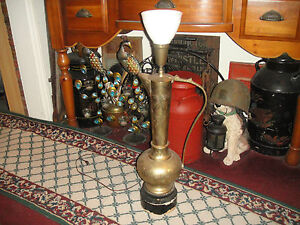 Antique Turkish Middle Eastern Water Pitcher Lamp 31 Tall Vlarge Engraved