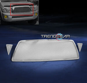For 2005 2010 Toyota Tacoma Upper Stainless Steel Mesh Grille Grill Chrome 3pcs