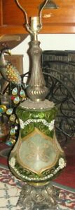 Antique Art Deco Table Lamp Green Glass Applied Metal Designs Marble Base 2