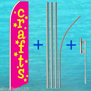 Crafts Flutter Flag 15 Tall Pole Mount Kit Feather Swooper Banner 25 3053