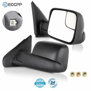 Power Heated Tow Mirrors Flip Up Pair For 2002 08 Dodge Ram 1500 03 09 2500 3500