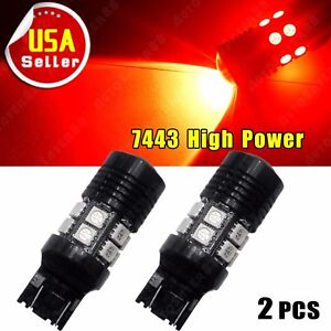 2 X High Power 7443 7440 7w 5050 12smd Led Red Brake Tail Stop Lights Bulbs