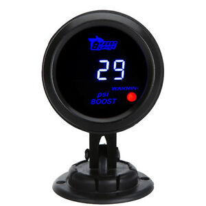 Car Universal 2 52mm Digital Blue Led Psi Turbo Boost Gauge Pod Holder