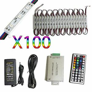 50 Ft Rgb 5050 Led Module Light 12v Tape 100 Pc Store Front Window Sign Lamp Kit