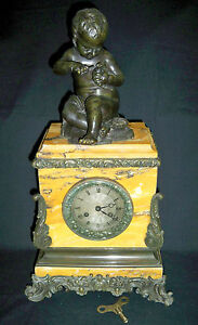 C 1830 French Marble Clock Bronze Figural Clock