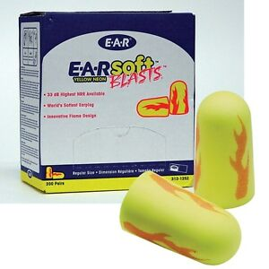 200 Pair 3m E a rsoft Yellow Neon Blasts Uncorded Disposable Ear Plugs Nrr 33