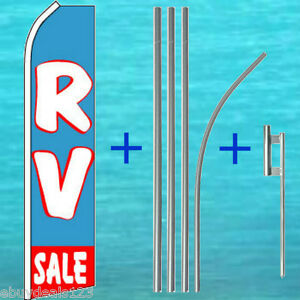 Rv Sale Flutter Flag 15 Tall Pole Mount Kit Feather Swooper Banner Sign 1255