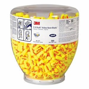 500 Pair 3m E a rsoft Yellow Neon Blasts Ear Plug One Touch Refill Nrr 33