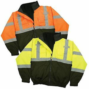 Radwear Class 3 Deluxe 3 in 1 Zip Fleece Lined Traffic Safety Bomber Jacket Only