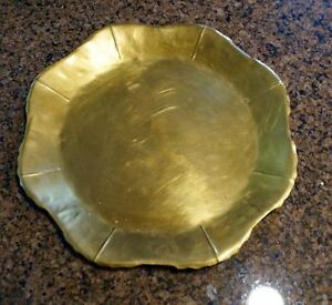 Antique Brass Alfredo Sciarrotta Hand Made Leaf Tray 1950s To 1960s Approx 11