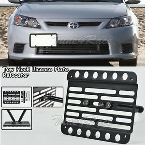 For 11 13 Scion Tc Front Tow Hook License Plate Relocated Bracket Holder