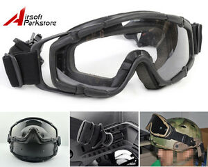 Airsoft Paintball Tactical Military Goggle Glasses Black for Helmet wSide Rails
