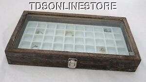 Rustic Antique Coffee Color 50 Slot Jewelry Glass Top Display Case White