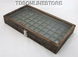 Rustic Antique Coffee Color 50 Slot Jewelry Glass Top Display Case Gray