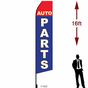 16ft Outdoor Advertising Flag With Pole Set Ground Stake auto Parts