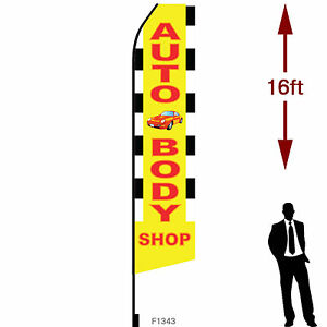 16ft Outdoor Advertising Flag With Pole Set Ground Stake auto Body Shop