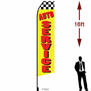 16ft Outdoor Advertising Flag With Pole Set Ground Stake auto Service