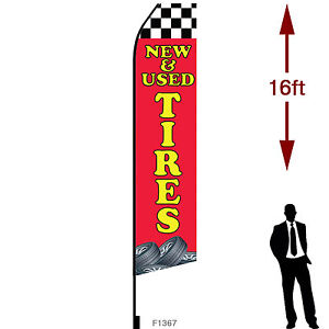 16ft Outdoor Advertising Flag With Pole Set Ground Stake new Used Tires
