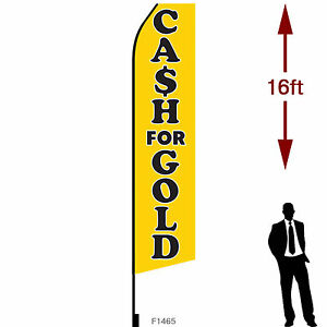 16ft Outdoor Advertising Flag With Pole Set Ground Stake cash For Gold