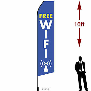 16ft Outdoor Advertising Flag With Pole Set Ground Stake free Wifi