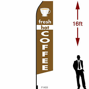 16ft Outdoor Advertising Flag With Pole Set Ground Stake fresh Hot Coffee