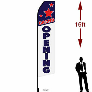 16ft Outdoor Advertising Flag With Pole Set Ground Stake grand Opening