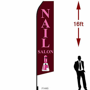 16ft Outdoor Advertising Flag With Pole Set Ground Stake nail Salon