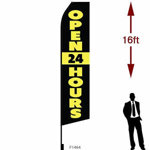 16ft Outdoor Advertising Flag With Pole Set Ground Stake open 24 Hours