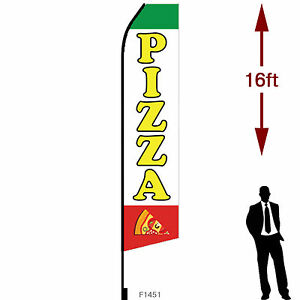 16ft Outdoor Advertising Flag With Pole Set Ground Stake pizza