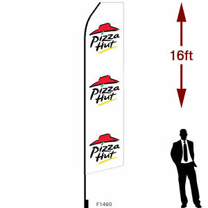 16ft Outdoor Advertising Flag With Pole Set Ground Stake pizza Hut